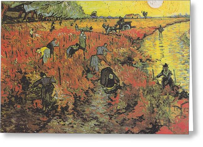 The Red Vineyard At Arles Greeting Card by Celestial Images