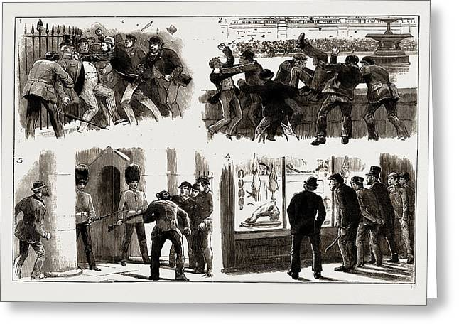 The Rioting In The West End Of London, February 8th Greeting Card by Litz Collection