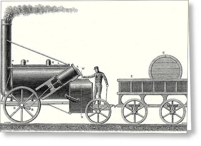 The Rocket Locomotive Of George And Robert Stephenson Greeting Card