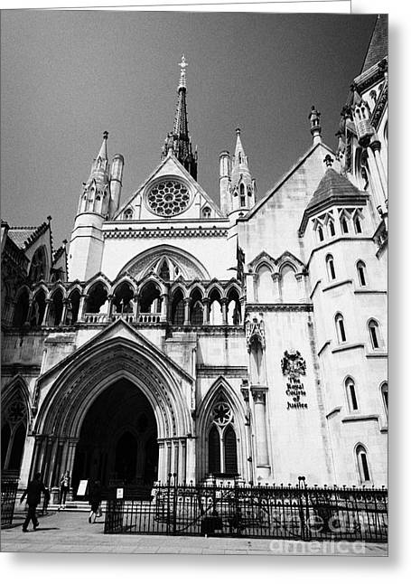 the royal courts of justice law courts central London England UK Greeting Card by Joe Fox