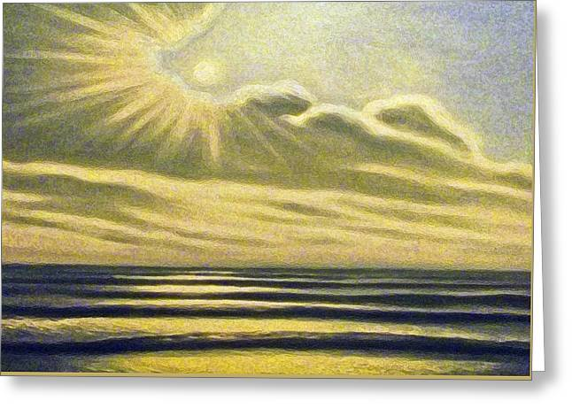 The Sea Clouds And Sun Greeting Card by Algirdas Lukas