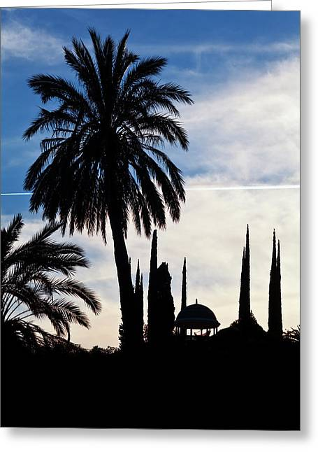 The Silhouetted Temple,botanical Garden Greeting Card by Panoramic Images
