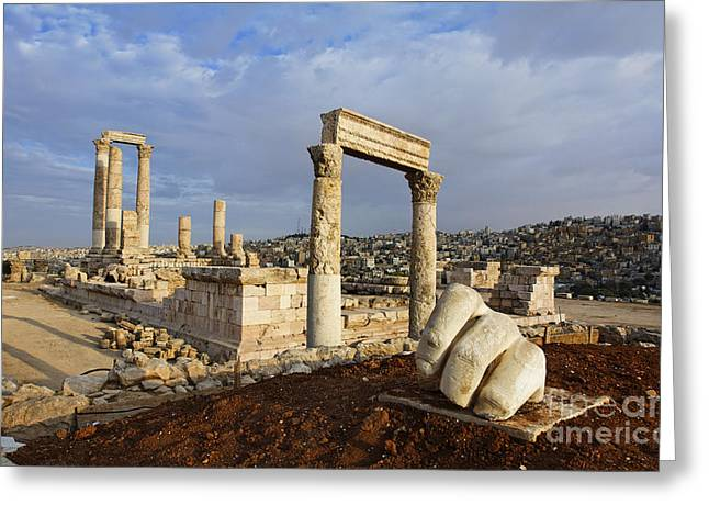 The Temple Of Hercules And Sculpture Of A Hand In The Citadel Amman Jordan Greeting Card by Robert Preston