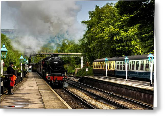 The Train Arriving Greeting Card by Trevor Kersley