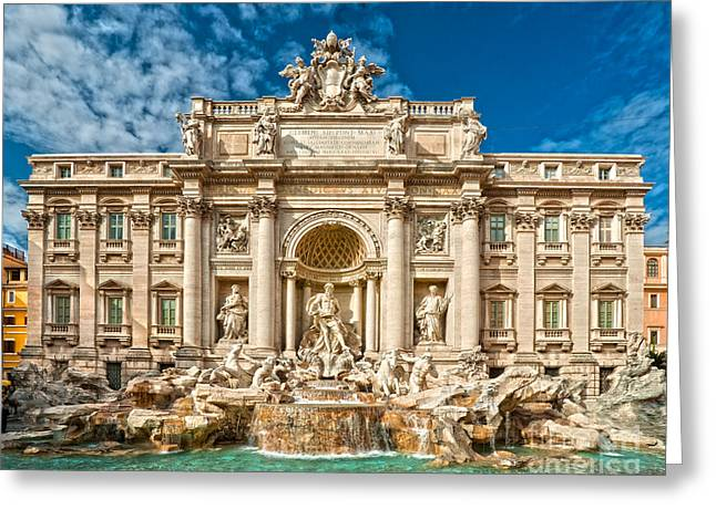 The Trevi Fountain - Rome Greeting Card by Luciano Mortula
