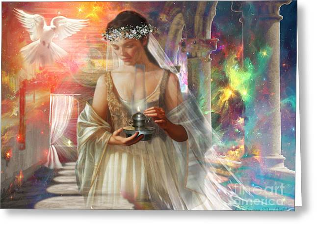The Waiting Bride Greeting Card by Dolores Develde