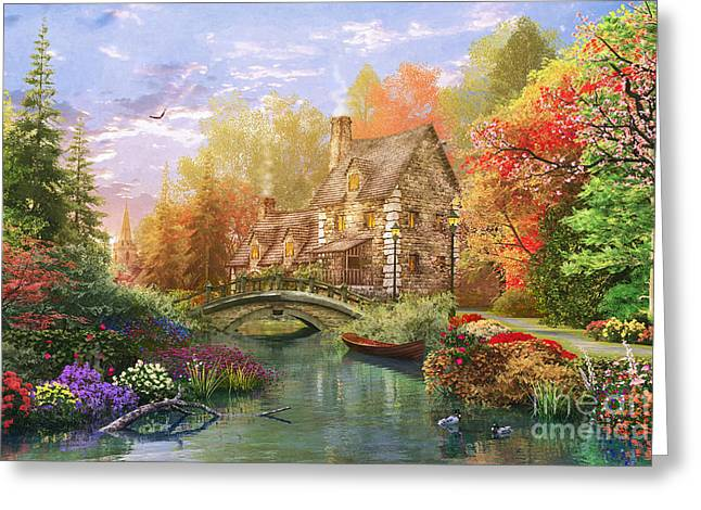 The Water Lake Cottage Greeting Card by Dominic Davison