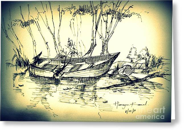 The Wrecked Boat Greeting Card
