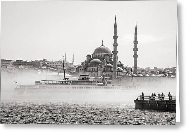The Yeni Mosque In Fog Greeting Card