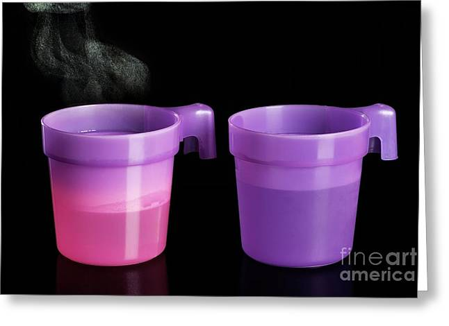 Thermochromatic Plastic Cups Greeting Card by Martyn F. Chillmaid