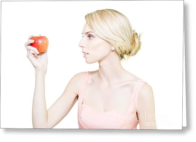Thin Undernourished Woman Holding An Apple Greeting Card by Jorgo Photography - Wall Art Gallery