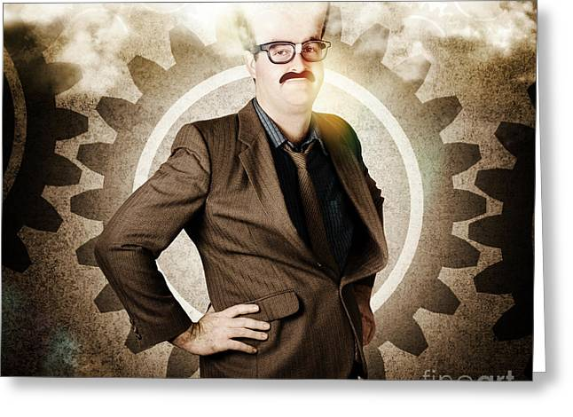 Thinking Businessman With Big Brain Greeting Card by Jorgo Photography - Wall Art Gallery