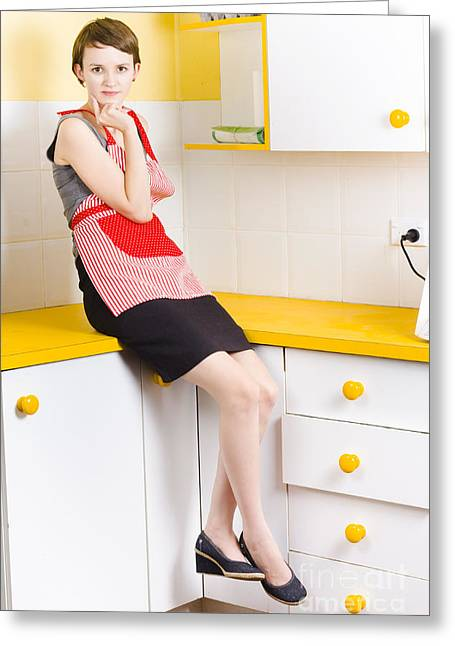 Thoughtful Woman In Kitchen Greeting Card by Jorgo Photography - Wall Art Gallery