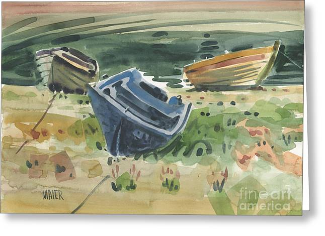 Three Boats Greeting Card by Donald Maier