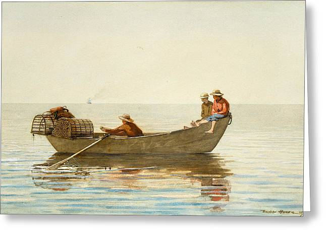 Three Boys In A Dory With Lobster Pots Greeting Card