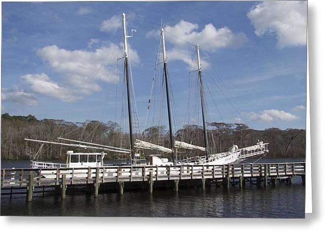 Three Mast Sailboat Greeting Card