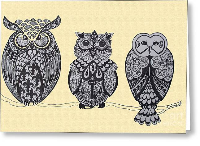 Three Owls On A Branch Greeting Card by Karen Larter