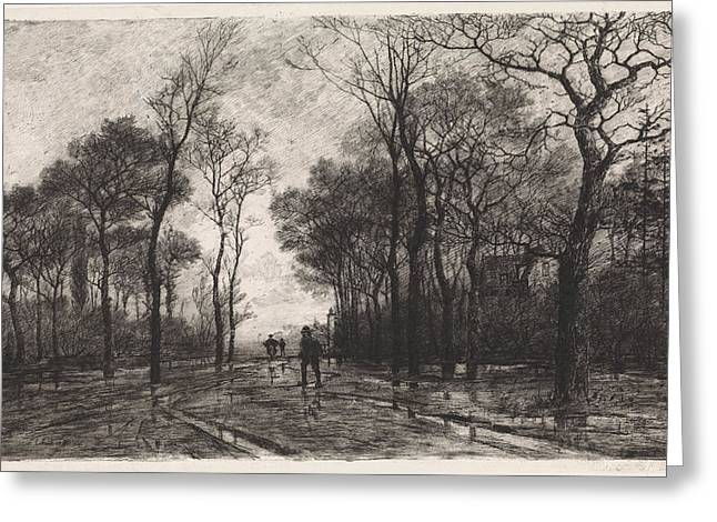 Three People On A Road Lined With Trees, Elias Stark Greeting Card by Elias Stark