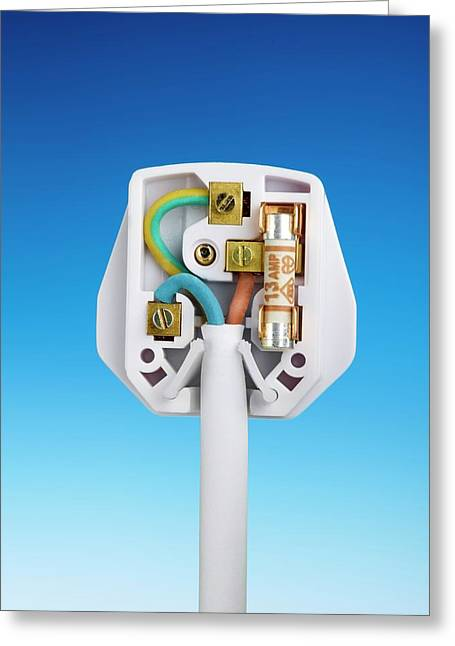Three-pin Electrical Plug Greeting Card by Science Photo Library