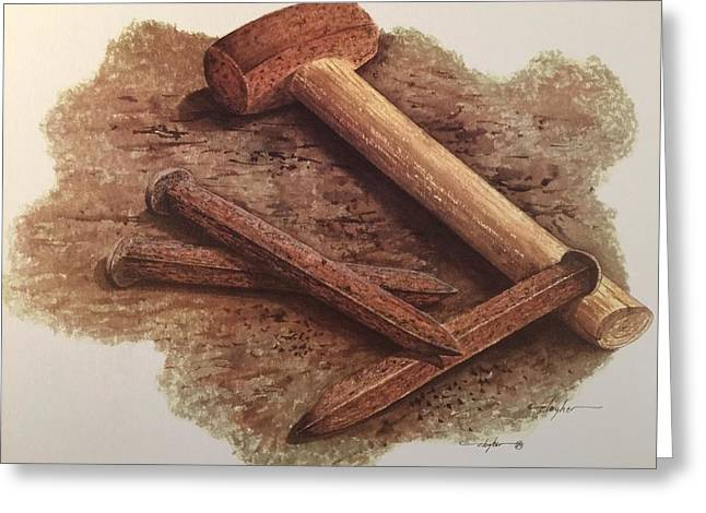 Three Rusty Nails Greeting Card by Mickey Clogher