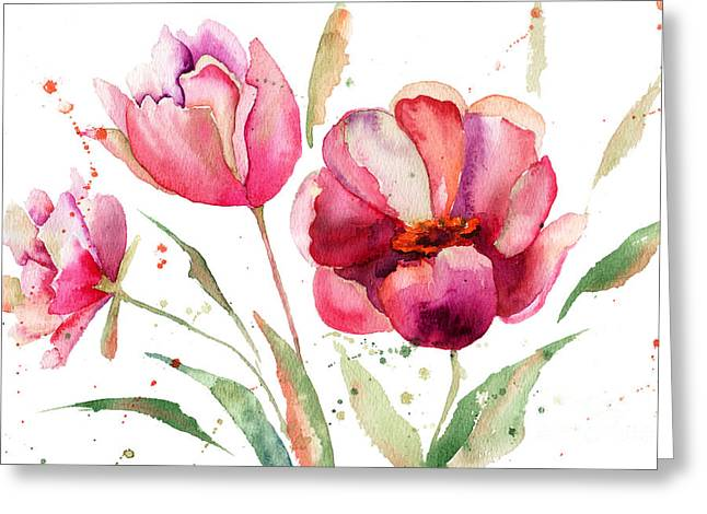 Three Tulips Flowers  Greeting Card