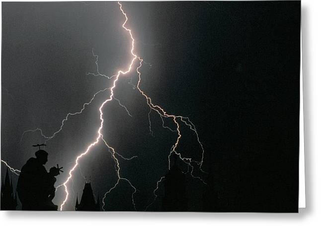 Thunder Storm In The Sky Greeting Card by Panoramic Images