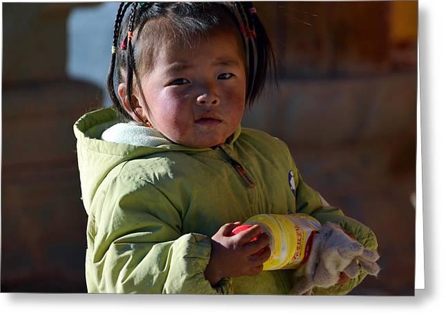 Tibetan Girl Greeting Card by Yue Wang