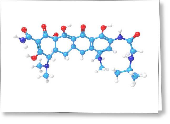 Tigecycline Antibiotic Molecule Greeting Card by Indigo Molecular Images
