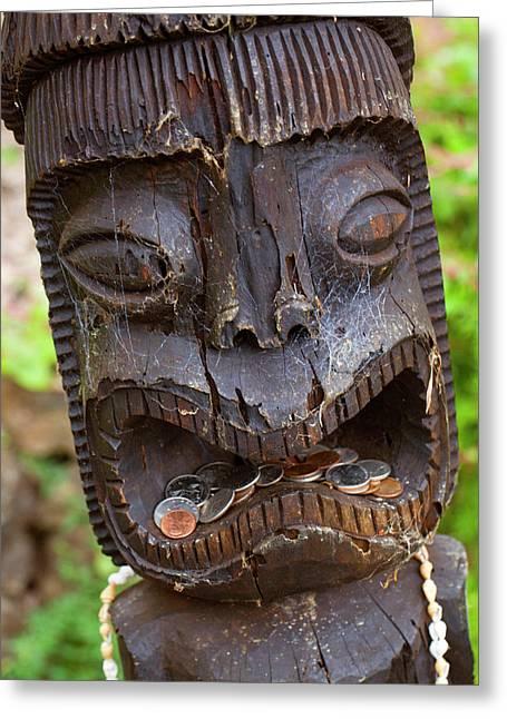 Tiki, Kula Botanical Garden, Upcountry Greeting Card