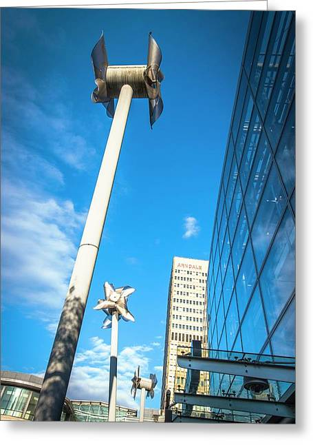 Tilted Windmills Sculpture Greeting Card