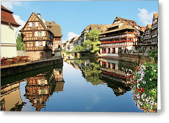 Timbered Buildings, La Petite France Greeting Card by Miva Stock