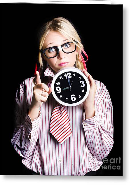 Time Management Business Person Signalling Time Up Greeting Card by Jorgo Photography - Wall Art Gallery