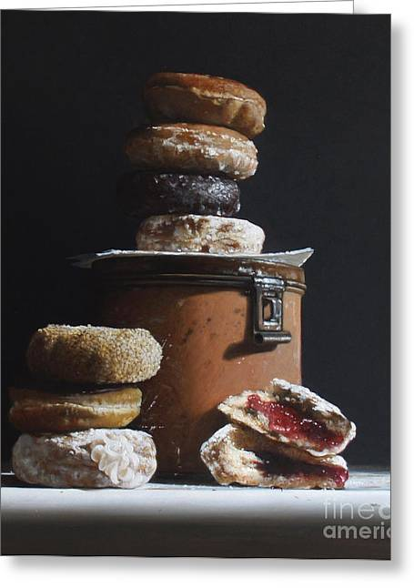 Tin With Donuts Greeting Card by Larry Preston