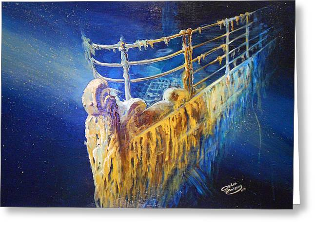 Titanic In The Deep Mist Greeting Card by Ottilia Zakany