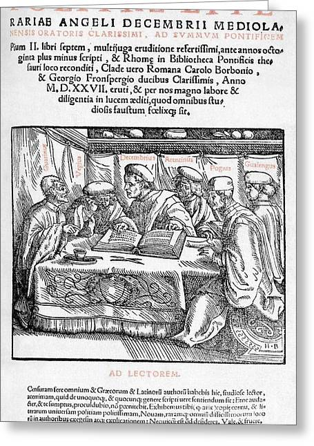 Title Page Of Politiae Literariae, 1540 Greeting Card by Middle Temple Library