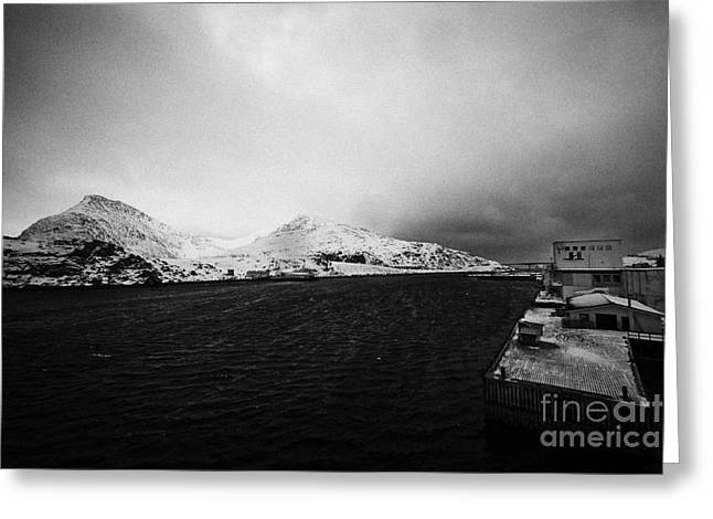 Tobo Fisk Fish Processing Plant And Pier Harbour Havoysund Finnmark Norway Europe Greeting Card