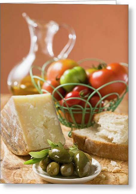 Tomatoes In Wire Basket, Olives, Cheese, Bread And Olive Oil Greeting Card