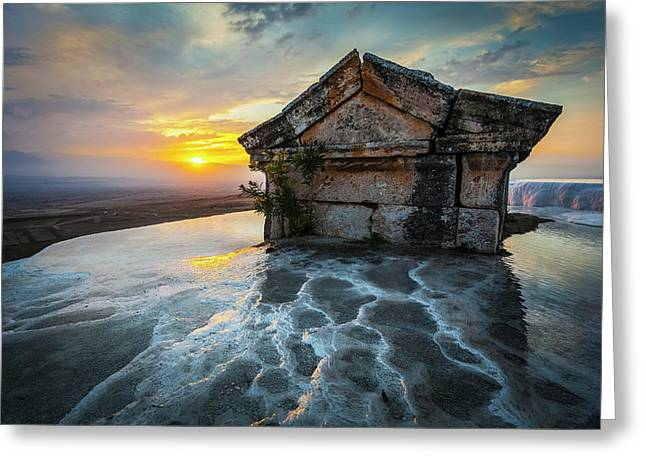 Tomb Submerged In A Travertine Pool Greeting Card