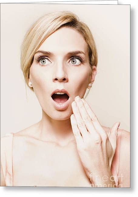 Toned Portrait Of Woman Reacting In Horror Greeting Card by Jorgo Photography - Wall Art Gallery
