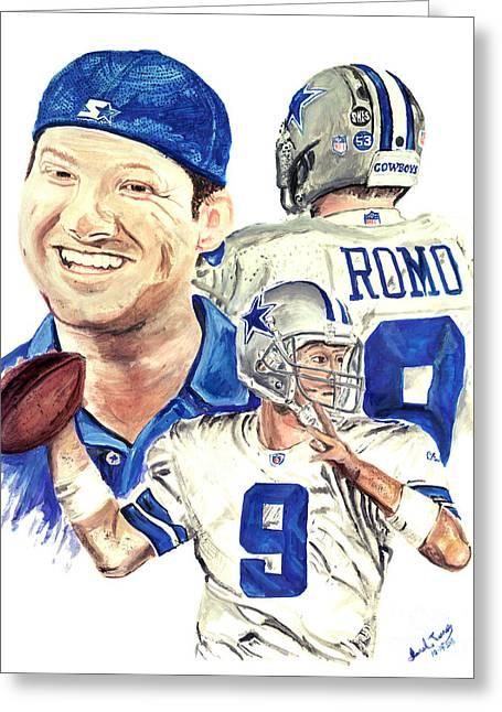 Tony Romo Greeting Card by Israel Torres