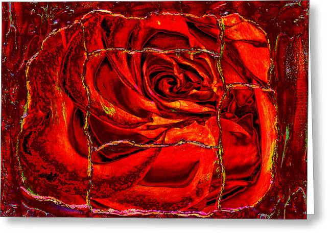 Torn Rose Greeting Card by Pattie Calfy