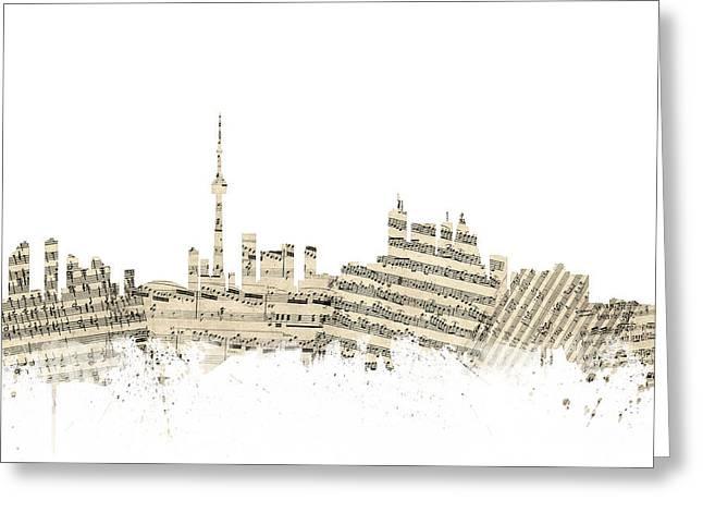 Toronto Canada Skyline Sheet Music Cityscape Greeting Card by Michael Tompsett