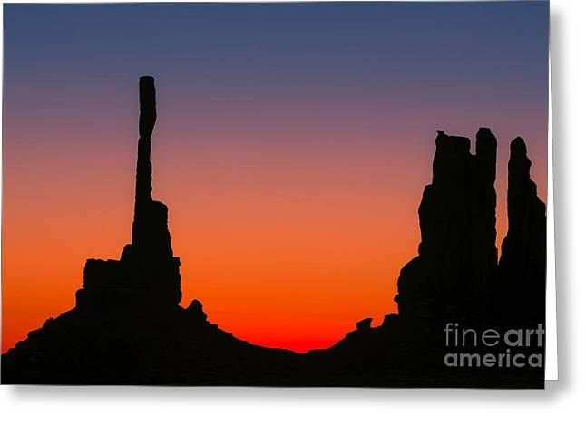 Totem Pole In Monument Valley Greeting Card by Henk Meijer Photography