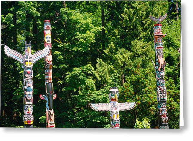 Totem Poles In A A Park, Stanley Park Greeting Card