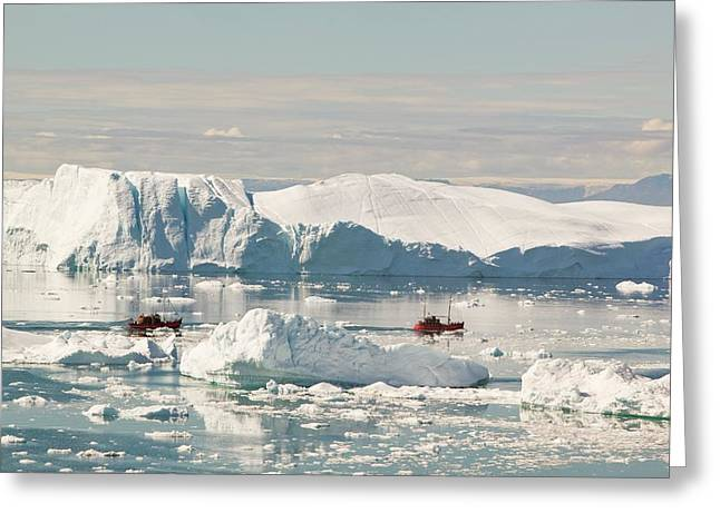 Tourist Boat Trips Sail Through Icebergs Greeting Card by Ashley Cooper