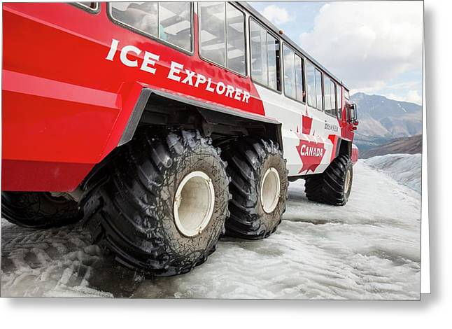 Tourist Ice Buggies On Athabasca Glacier Greeting Card by Ashley Cooper