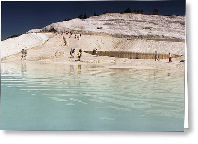 Tourists At A Hot Springs Greeting Card by Panoramic Images