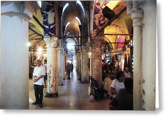 Tourists In A Market, Grand Bazaar Greeting Card