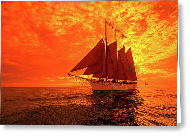 Tourists On Sailboat In The Pacific Greeting Card