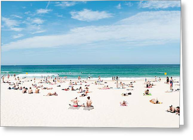 Tourists On The Bondi Beach, Sydney Greeting Card by Panoramic Images